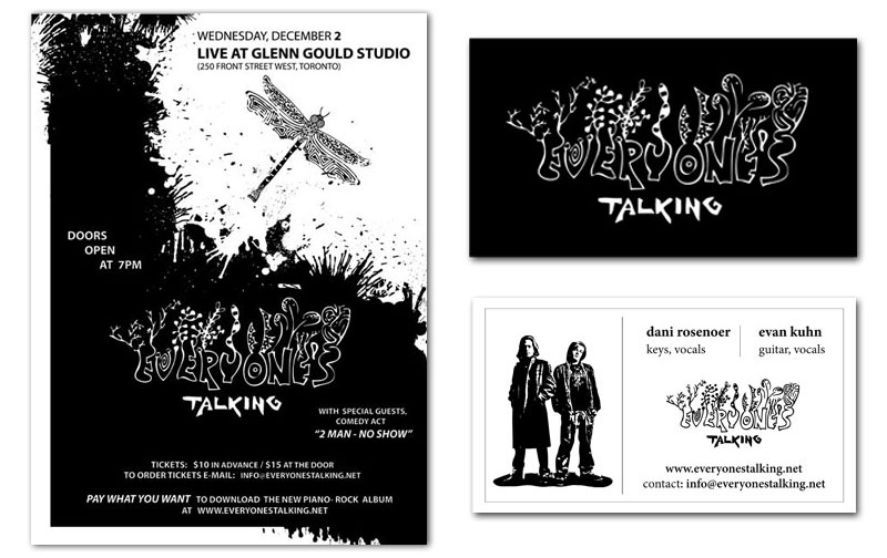 Mariana zaslavsky graphic and web design a small poster and a business card were created in illustrator for a canadian rock band everyones talking colourmoves